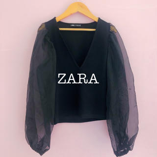 ZARA - 美品 ZARA チュールパフ袖 ブラウス