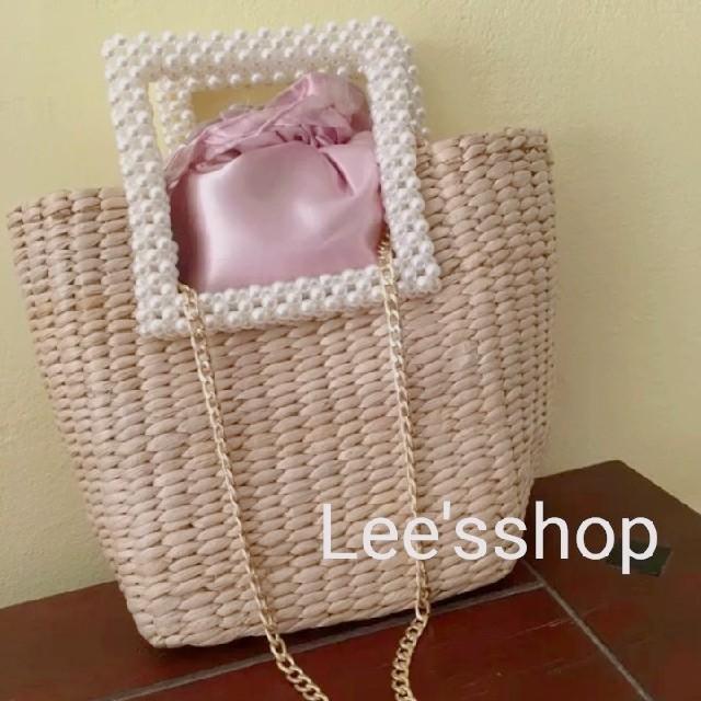 ZARA(ザラ)のレディース カゴバッグ 夏 パール ピンク ショルダー カバン  D レディースのバッグ(かごバッグ/ストローバッグ)の商品写真