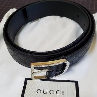 Gucci - 24 GUCCI グッチ マイクログッチシマ ブラック レザー ベルト