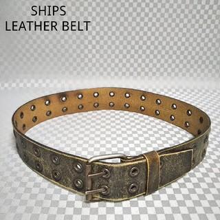 シップス(SHIPS)のシップス☆レザーベルト 牛革 本革 ダブルフック 2連 ハトメ 黒アンティーク色(ベルト)