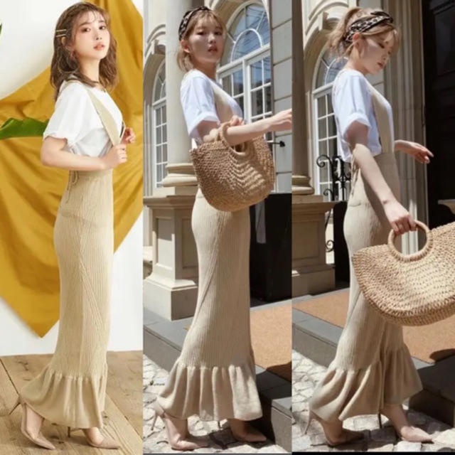 eimy istoire(エイミーイストワール)の即完売♡Darichダーリッチ♡ニットサロペスカート♡ニットサロペ レディースのスカート(ロングスカート)の商品写真