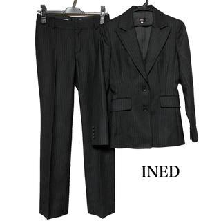 INED - INED イネド スーツ セットアップ パンツスーツ レディース 黒 ストライプ
