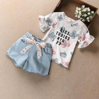 KSCS110夏子供服 キッズ 花柄 Tシャツ+デニムパンツ 2点セット