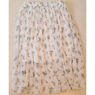 130サイズ  白 花柄 フレアロングスカート