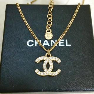 CHANEL - 正規品 シャネル ネックレス ゴールド ココマーク 両面 ラインストーン ロゴ