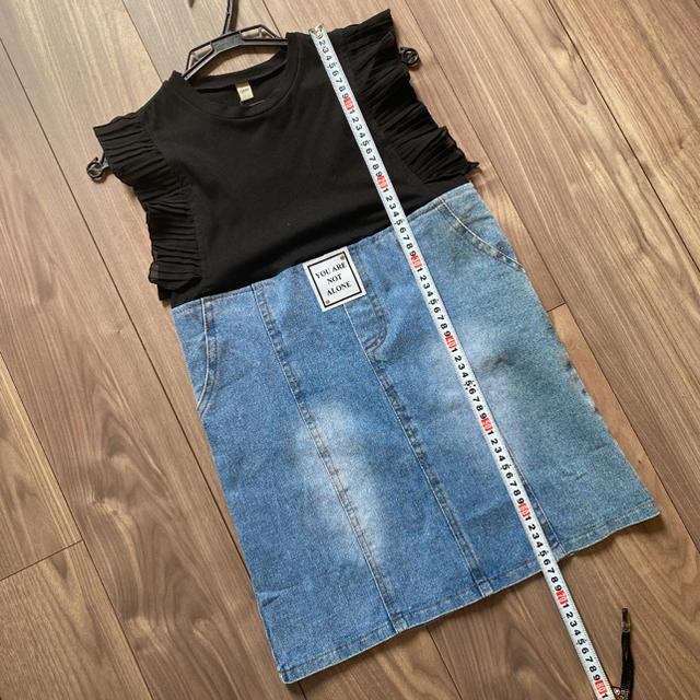 異素材ドッキングワンピース 130cm オルチャン キッズ/ベビー/マタニティのキッズ服女の子用(90cm~)(ワンピース)の商品写真