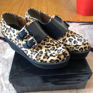 マウジー(moussy)のmoussy ハラコ 豹柄厚底靴 🎶(ローファー/革靴)