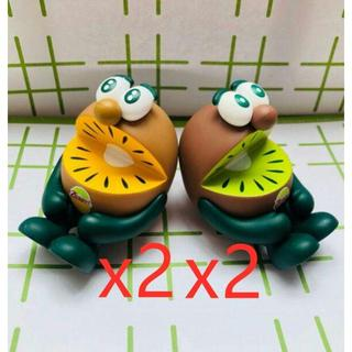 即購入可ゼスプリ キウイブラザーズ フィギュア緑とゴールド(ノベルティグッズ)
