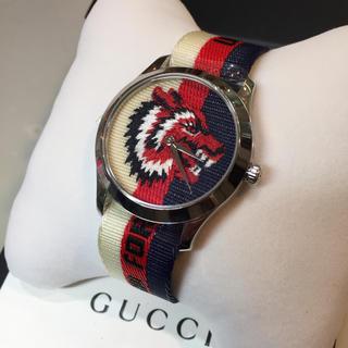 グッチ(Gucci)の☆新品☆GUCCI トリコロールベルト 腕時計 Gタイムレス ウルフ(腕時計(アナログ))