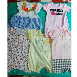 ニシマツヤ(西松屋)の80㎝ カバーオール 5枚セット 半袖 ベビー服(カバーオール)