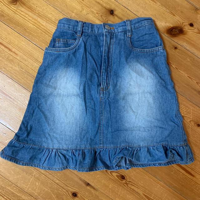 デニム膝丈スカート 140cm キッズ/ベビー/マタニティのキッズ服女の子用(90cm~)(スカート)の商品写真