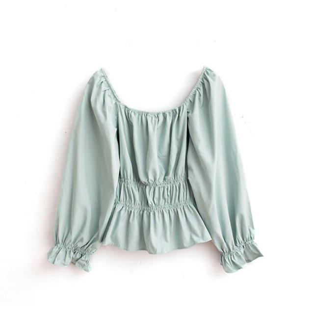 ZARA(ザラ)の♡ mint green blouse ♡ レディースのトップス(シャツ/ブラウス(長袖/七分))の商品写真