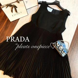 PRADA - ♡美品♡プラダ  プリーツ ドレスワンピース♡ブラック♡