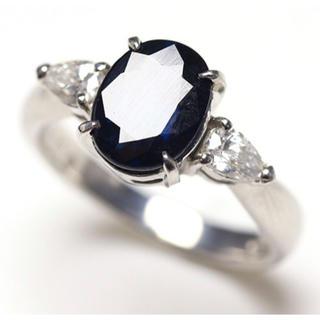PT850 サファイア ダイヤモンド 指輪 リング 10号(リング(指輪))