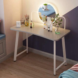 グレー ラストワンタッチパネル鏡つき ドレッサー 在宅事務テーブル 両用(ドレッサー/鏡台)