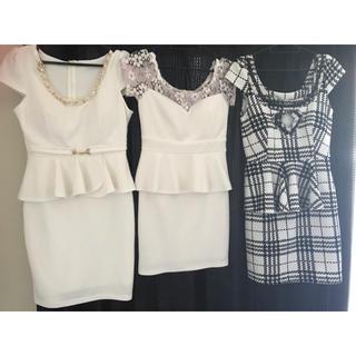 dazzy store - 白ペプラムドレス3点セット