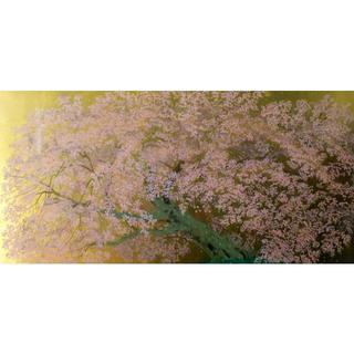 中島千波「阿蘇一心行の櫻」シルクスクリーン 25号 手張り本金箔 真作保証 美品(版画)