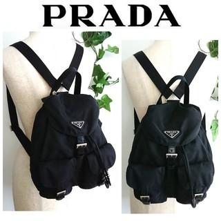 PRADA - 美品 PRADA リュック バッグ ナイロン レザー 黒 レディース メンズ