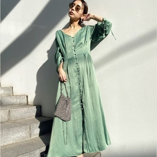 Ameri VINTAGE - TUCK SHAPE DRESS グリーン M アメリ