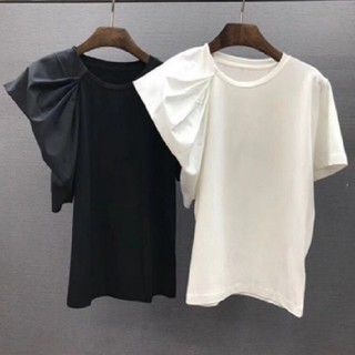 ZARA - アンバランス袖 Tシャツ 【2color】
