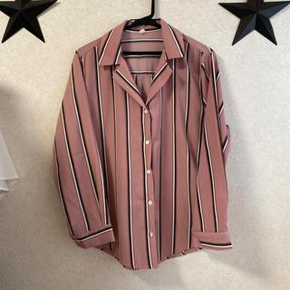 dholic - 値下げ! 韓国購入 ピンクストライプ シャツ オープンカラー