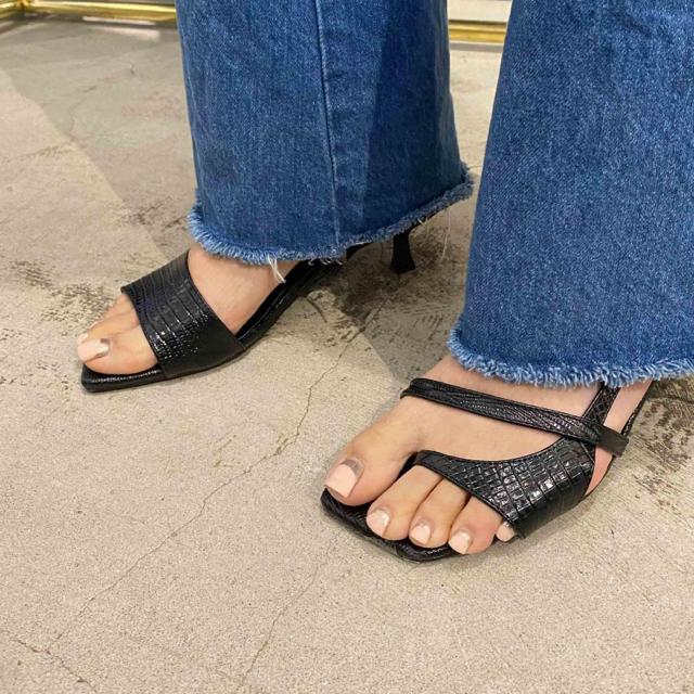 Ameri VINTAGE(アメリヴィンテージ)のアメリヴィンテージ サンダル パンプス 黒 23.5 24センチ レディースの靴/シューズ(サンダル)の商品写真