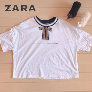 ZARA - zara リボンビジュー付き Tシャツ