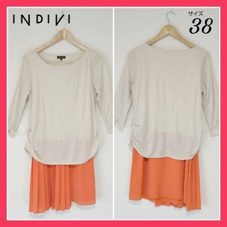 INDIVI - 《春ワンピ》インディヴィ INDIVI ワンピース 8分袖 38サイズ