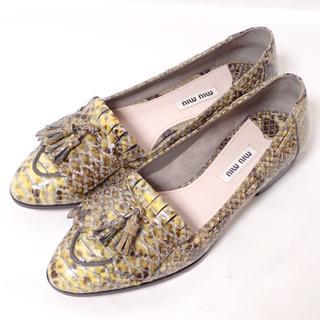 ミュウミュウ(miumiu)のAA262 ミュウミュウ MIUMIU エナメル ヘビ柄 ローファー(ローファー/革靴)