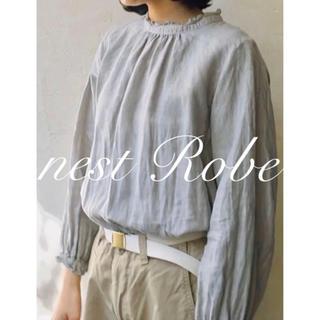 nest Robe - * nest Robe * 定番 リネンスタンドフリルブラウス ライトグレー