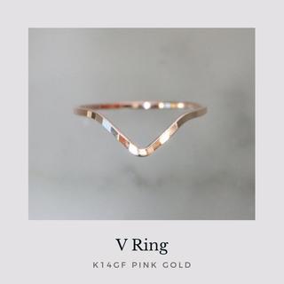 《 V 》 14kgf V字槌目リング ピンクゴールド 華奢 指輪 ピンキー有(リング)