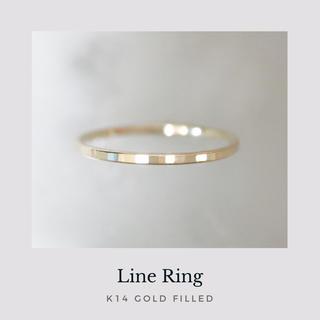 《 Line 》 14kgf 槌目リング ゴールド 華奢 指輪 ピンキー有り(リング)