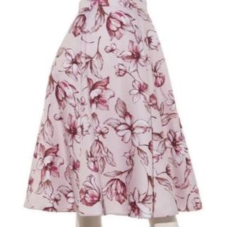 ジャスグリッティー(JUSGLITTY)のアートフラワープリントスカート(ひざ丈スカート)