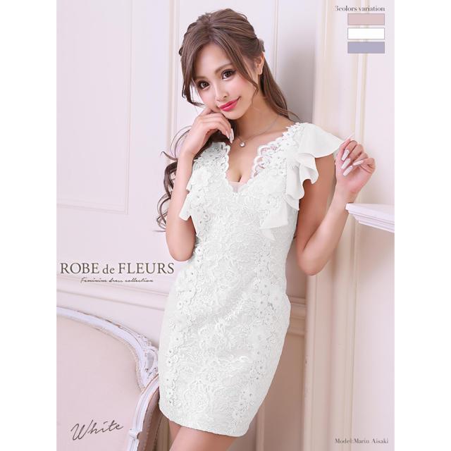 ROBE(ローブ)のローブドフルール ドレス 白 タグ付き ROBEdeFLEURS レディースのフォーマル/ドレス(ナイトドレス)の商品写真