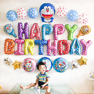ドラえもんとドラミちゃんの誕生日バルーンセット♡文字カラー変更可♡送料無料
