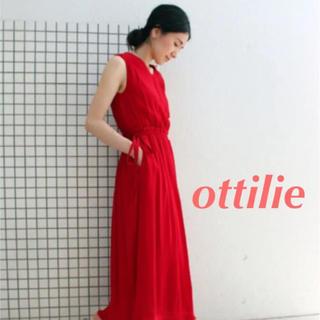 【ottilie】フリンジノースリーブワンピース(ロングワンピース/マキシワンピース)