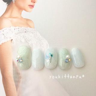 押し花 アイスブルー*ネイルチップ 付け爪 つけ爪 結婚式 ブライダル 紫陽花