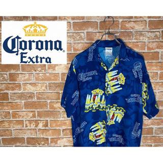 コロナ(コロナ)のコロナ 柄シャツ 半袖 総柄 ビール レーヨン100%  オープンカラー 開襟(シャツ)