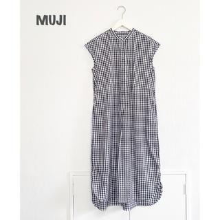 MUJI (無印良品) - 【MUJI】ギンガムチェックワンピース 無印良品 ブラック