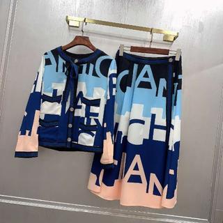 CHANEL -  シャネル CC プリント ツイル ジャケット+ スカートセット