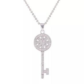 Dior - キー ネックレス  クリスタル シルバー ホワイト ペンダント キラキラ