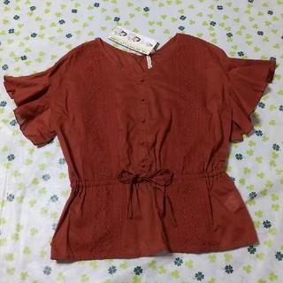 シマムラ(しまむら)の新品 HK刺繍ボタン半袖ブラウス Mサイズ 茶色 しまむら コシノヒロコ 未使用(シャツ/ブラウス(半袖/袖なし))