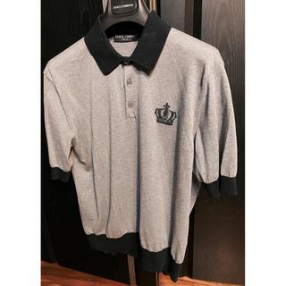 ドルチェアンドガッバーナ(DOLCE&GABBANA)の美品ドルチェ&ガッバーナD&Gポロシャツ46クラウン王冠グレー刺繍クリーニング夏(ポロシャツ)