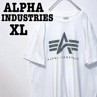 アルファインダストリーズ(ALPHA INDUSTRIES)のALPHA INDUSTRIES Tシャツ デカロゴ 迷彩柄 古着 ミリタリー(Tシャツ/カットソー(半袖/袖なし))