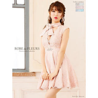 ROBE - 【大人気完売商品】ROBEdeFLEURS リボンネックミニドレス fm1401
