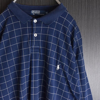 POLO RALPH LAUREN - XL 古着 ラルフローレン ボックス チェック ポロシャツ  刺繍ポニー