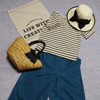 アズノゥアズピンキー(AS KNOW AS PINKY)の値下げ新品同様 AS KNOW AS ボーダーTシャツ、GUスリットパンツセット(Tシャツ(半袖/袖なし))