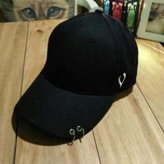 大流行 vマーク 2連リング キャップ 男女兼用 メンズ レディース 帽子 黒