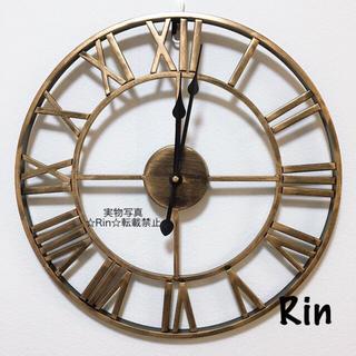 【新品】アイアン掛け時計 ヴィンテージゴールド アンティーク ウォールクロック(掛時計/柱時計)
