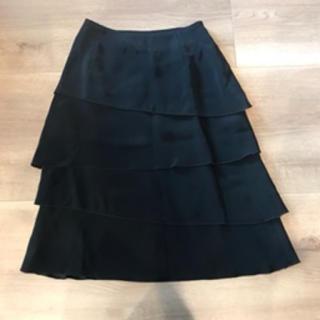 ジョルジュレッシュ(GEORGES RECH)の⭐︎GEORGES RECH フレアスカート 黒 4段フリル フォーマルにも(ひざ丈スカート)